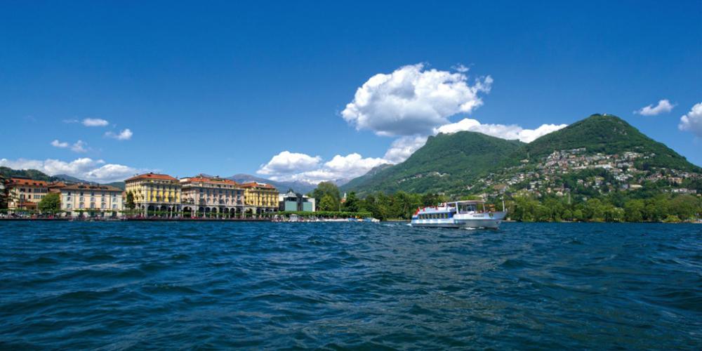 Lugano casco antiguo y crucero en el lago